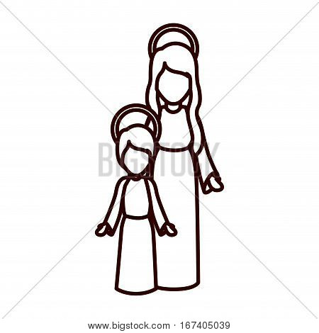 monochrome contour with virgin mary and jesus boy vector illustration