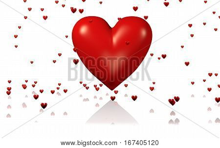 3D illustration of One Big and Red Heart with Lots of Tiny Hearts with a White Background
