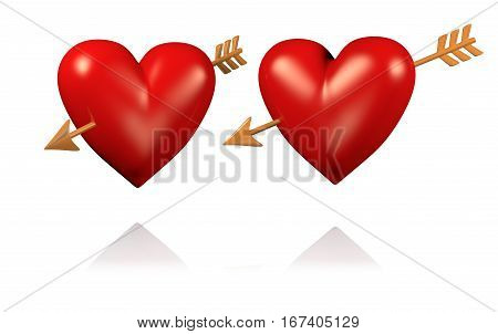 3D illustration of Two Big and Red Hearts with Golden Arrows with White BackGround