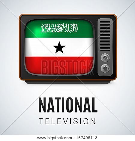 Vintage TV and Flag of Somaliland as Symbol National Television. Button with flag colors