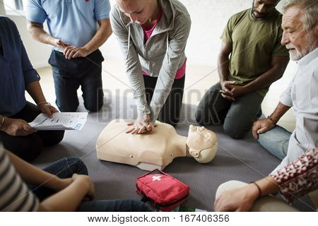 CPR First Aid Training Concept