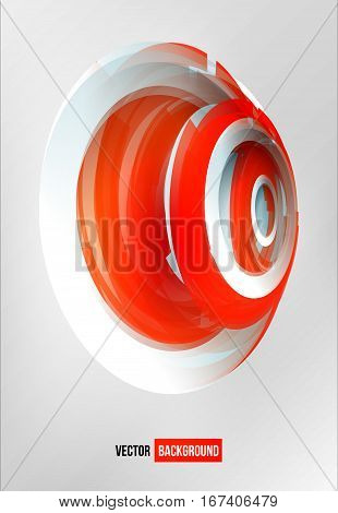 circles abstract logo. Red and white sign