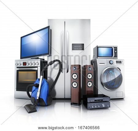 Consumer and home electronics.TVFridgevacuum cleanermicrowavewasher and electric-cooker. 3d illustration