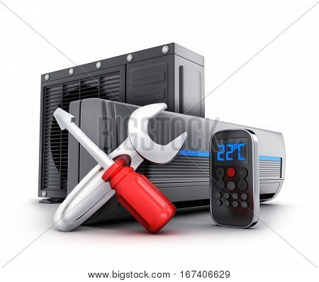 Repair air-conditioner on white background. 3d illustration