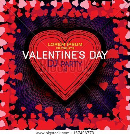 Modern trendy Night party valentine's day poster