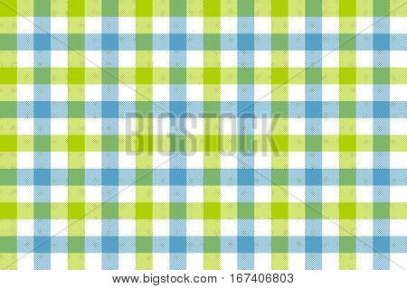 Green blue check fabric texture background seamless pattern. Vector illustration. EPS 10.