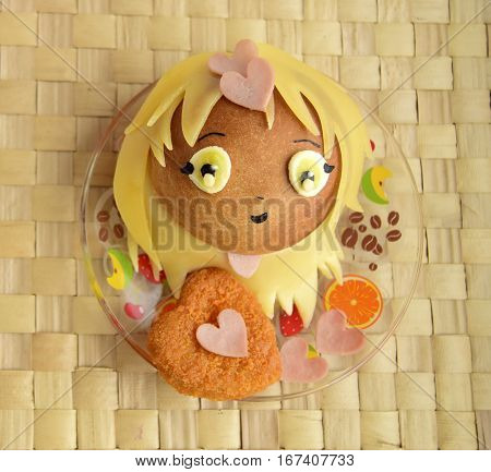 Sandwich in the form of the girl's heads. Sandwich is made of a roll and cheese. Creative food for darlings and children