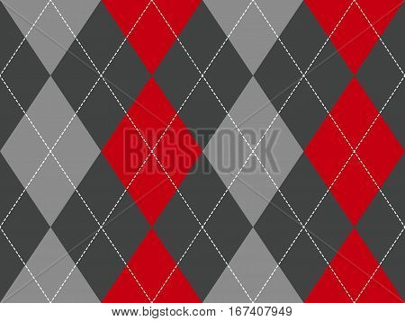 Red gray argyle fabric texture seamless pattern. Flat design. Vector illustration.