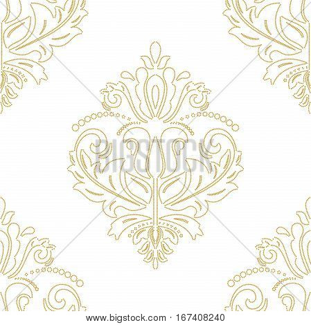 Oriental vector classic doted golden pattern. Seamless abstract background with repeating elements. Orient background