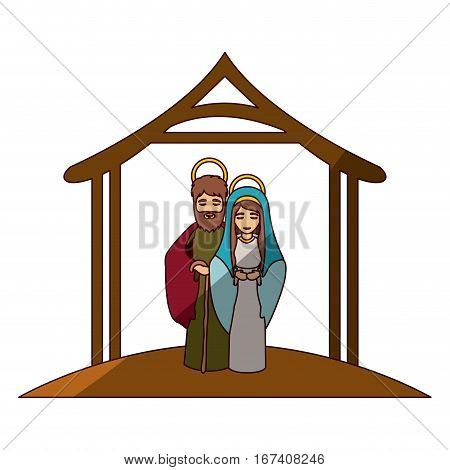 colorful image with virgin mary and saint joseph embraced under manger and middle shadow vector illustration