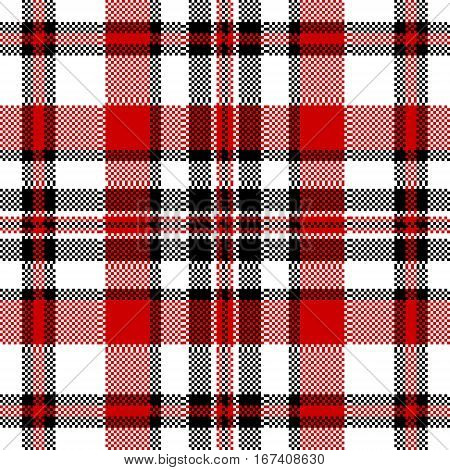 White red check square pixel seamless pattern. Vector illustration.
