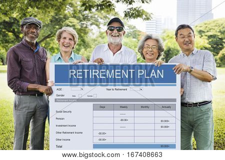 Retirement Plan Form Investment Senior Adult Concept
