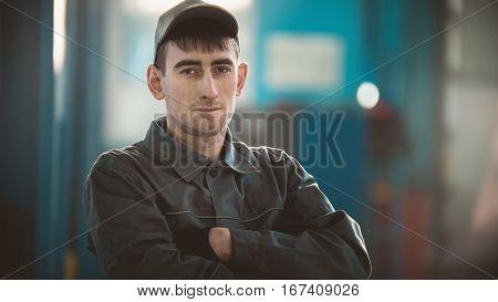 Portrait of a car engine in his garage, automobile diagnostic service, telephoto