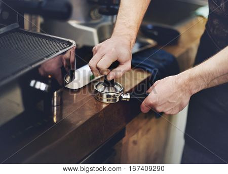 Coffee Machine Portafilter Steam Barista Shop Concept