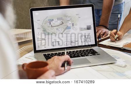 Design Studio Architect Creative Occupation Blueprint Laptop Concept