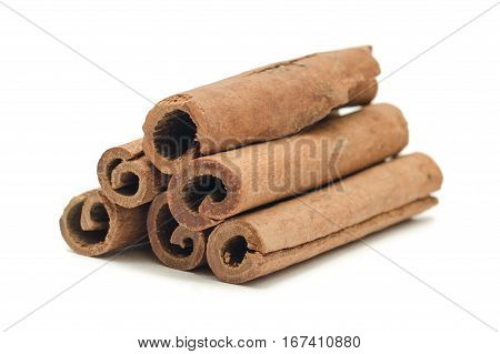 cinnamon close up isolated on white background When cinnamon is dried