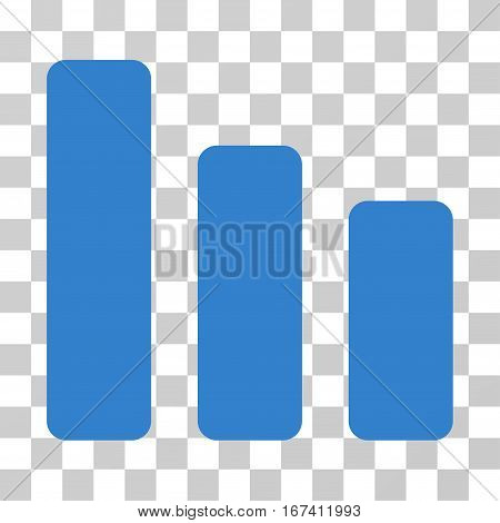 Bar Chart Decrease vector icon. Illustration style is flat iconic cobalt symbol on a transparent background.