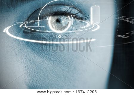 Digital image of globe with social connectivity against close up of gray eye