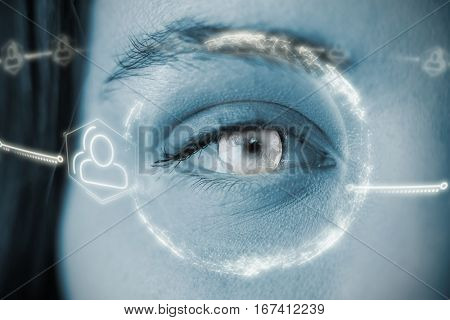 Digitally generated image of earth with social connectivity against portrait of woman with gray eye