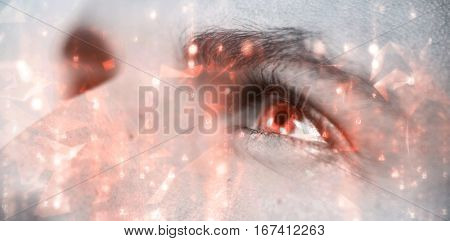 Abstract background against cropped image of man with gray eyes