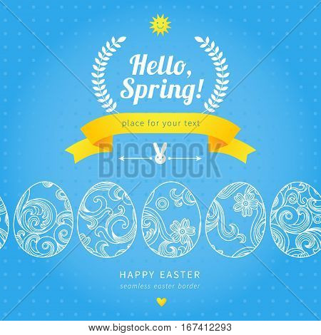 Happy Easter Eggs Seamless Border With Hipster Label.