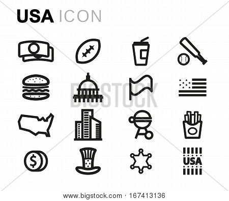 Vector line usa icons set on white background