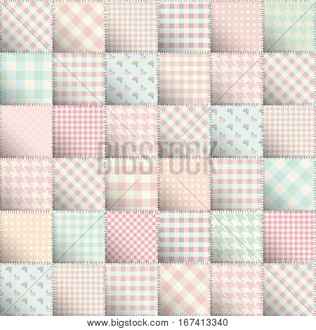 Seamless background pattern. Pink sweet patchwork of a squares.