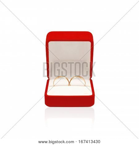Wedding two rings in red box isolated on a white background