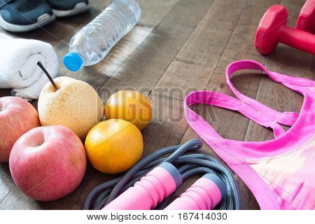 Fruit and sport accessories for workout Healthy lifestyle concept