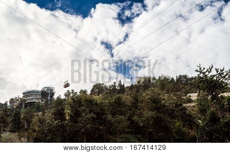Cable Car on background of blue sky and clouds in Haifa Israel