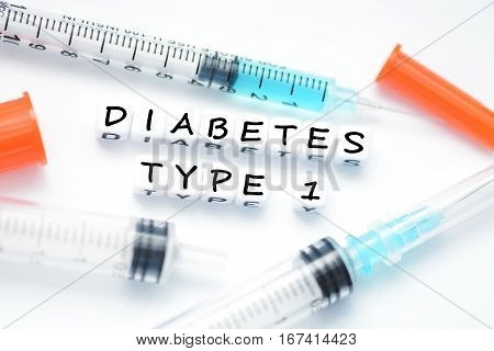 Type 1 diabetes metaphor suggested by insulin syringe