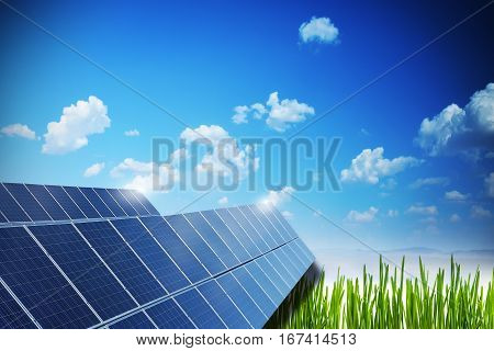 Commercial solar panel farm on a field