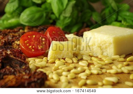 ingredients for fresh tasty home made pesto rosso