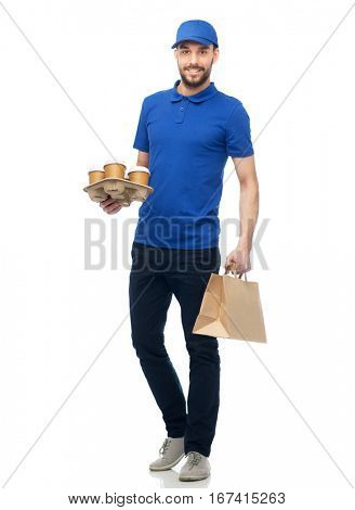 delivery service, fast food and people concept - happy man with coffee and disposable paper bag
