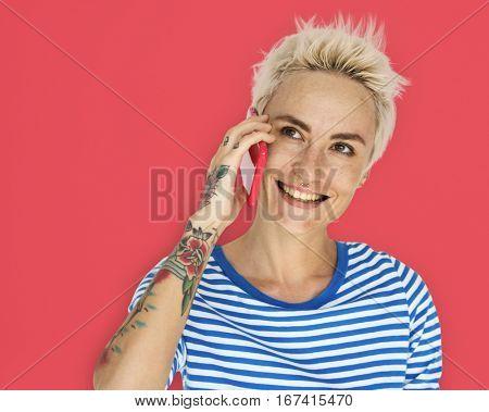 Caucasian Blonde Woman Smile Handphone