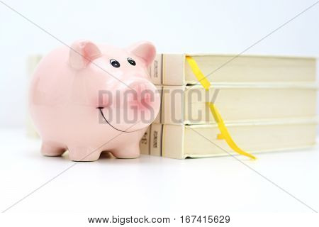 College fund concept with piggy bank standing near a pile of books