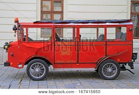 Bratislava Slovakia - November 4 2015: retro carriage on the main square in Bratislava Slovakia