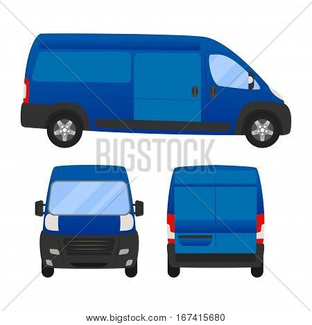 Delivery Van - Layout For Presentation - Vector Template.isolated On White Background, Blue Van Vehi