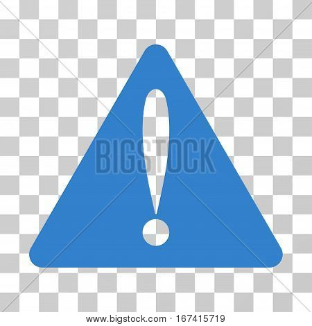 Warning Error vector icon. Illustration style is flat iconic cobalt symbol on a transparent background.