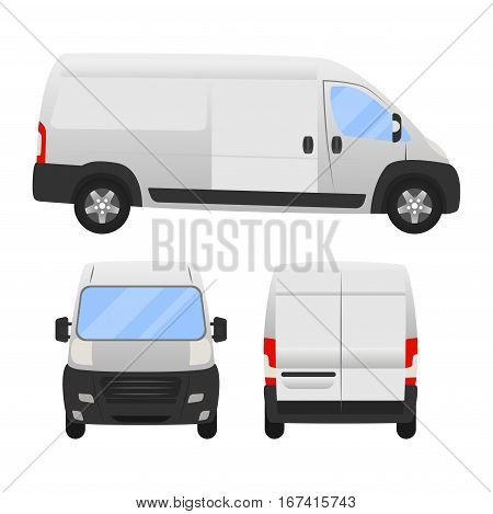 Delivery Van - Layout For Presentation - Vector Template.isolated On White Background, White Silver