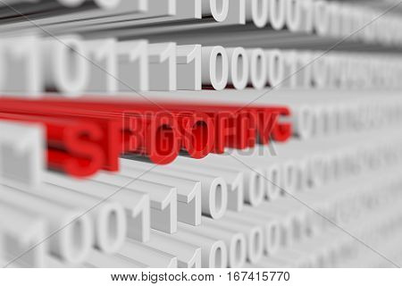 spoofing is represented as a binary code with blurred background 3d illustration