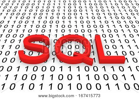 sql in the form of binary code, 3D illustration