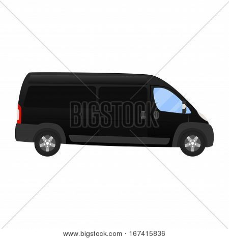 Delivery Van - Layout For Presentation - Vector Template.isolated On White Background, Black Silver