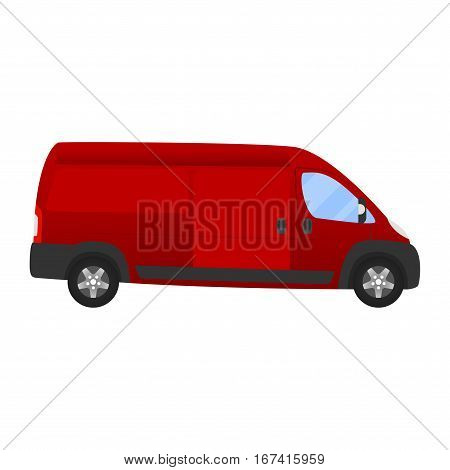 Delivery Van - Layout For Presentation - Vector Template.isolated On White Background, Red Van Vehic