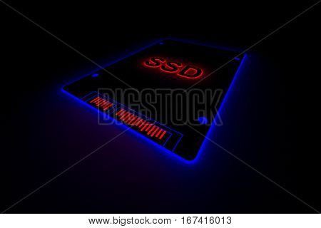 SSD is presented in the form of neon 3d illustration