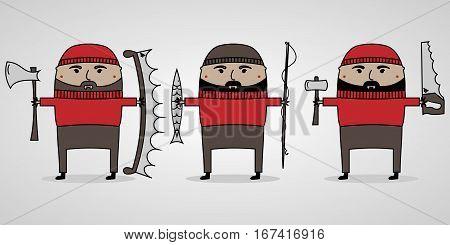 vector illustration cartoon men with beard in sweater and cap lumberjack, fisherman and a carpenter