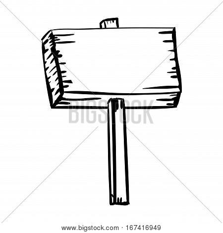 silhouette wooden placard with stake vector illustration