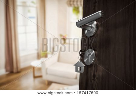 Low angle view of brown door with house key against sitting room