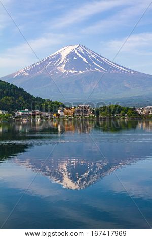 Reflection of Mt Fuji at lake Kawaguchiko