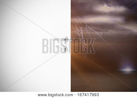 Door with metal doorknob and lock against lightning with clouds